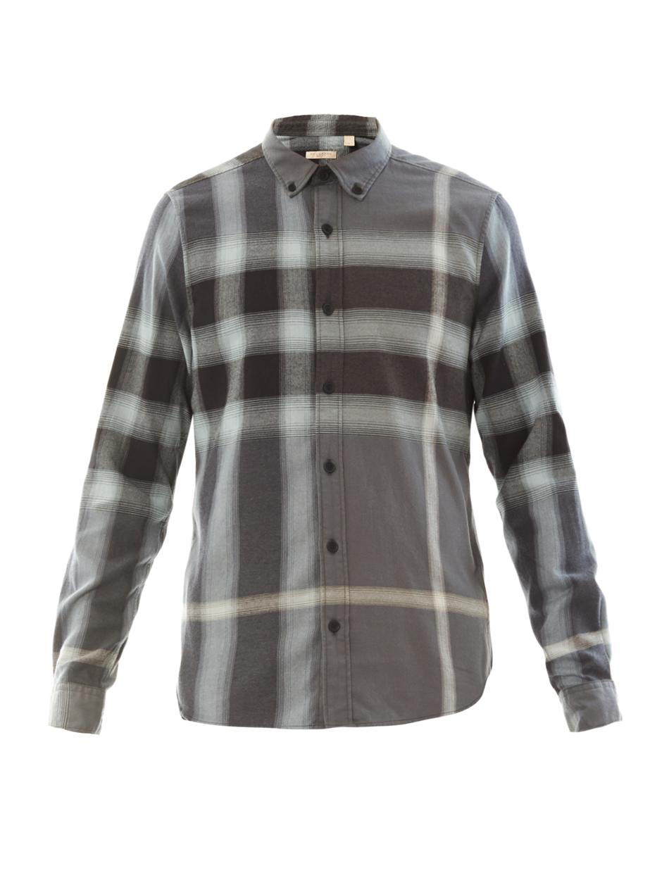 Burberry Brit Fred Flannel Plaid Shirt In Gray For Men