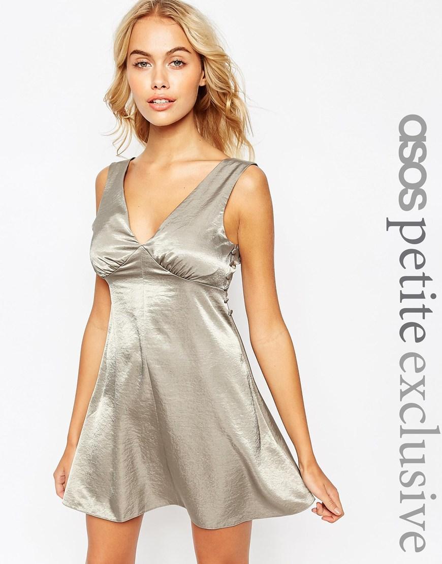 facbe6f4e2 ASOS Satin Skater Dress With Button Detail in Metallic - Lyst
