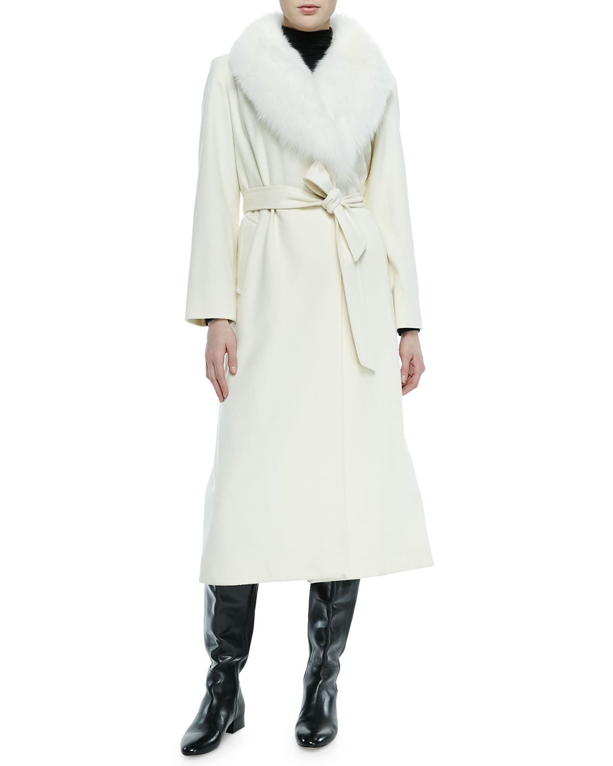 Sofia cashmere Fur-collar Long Wrap Coat in White | Lyst