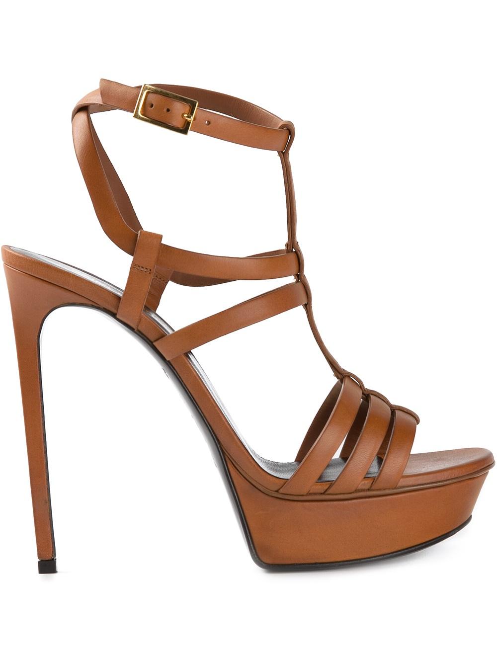 3a39f2d2470 Lyst - Saint Laurent Strappy Platform Sandals in Brown