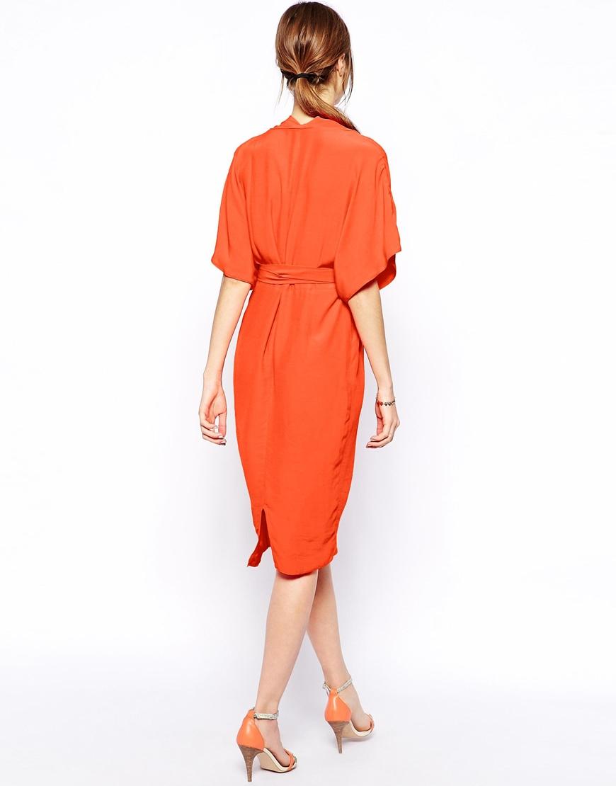 Lyst Asos Pencil Dress With Kimono Wrap In Orange