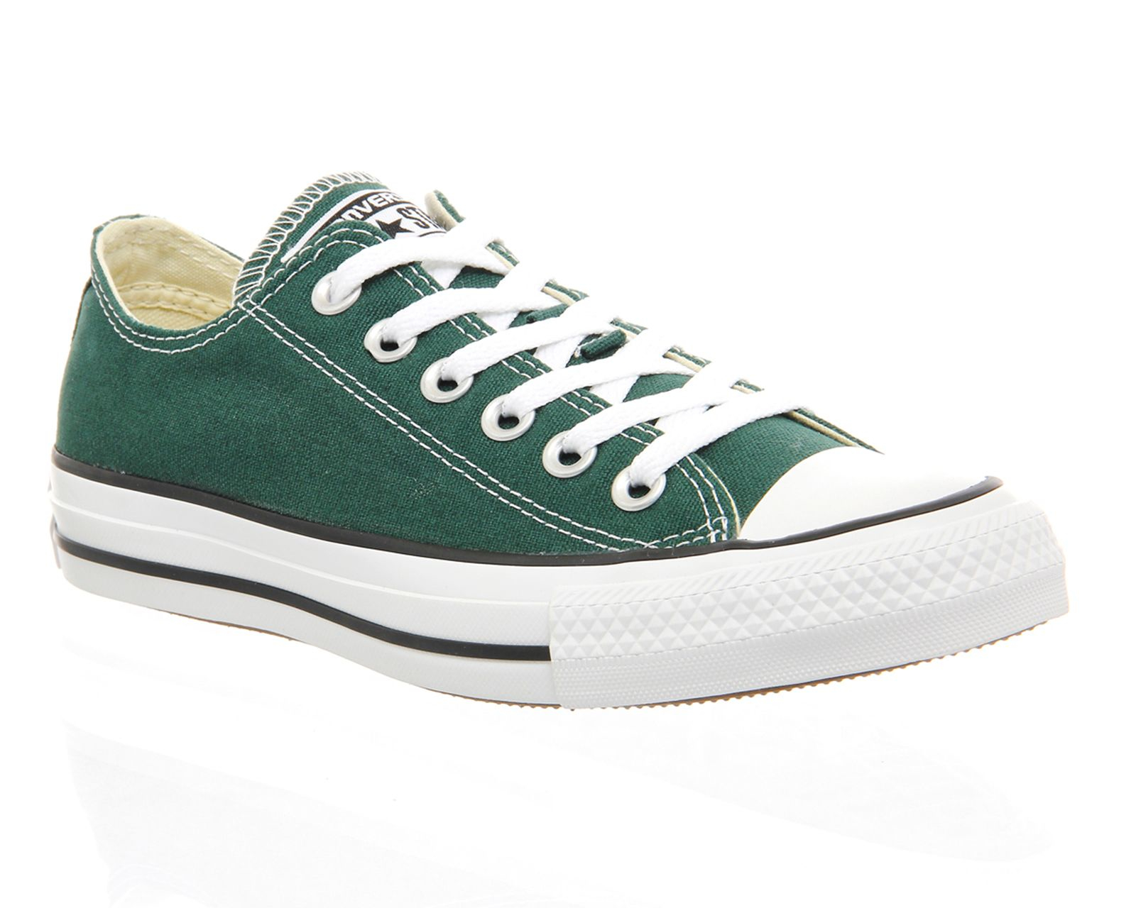 converse all star low trainers in green lyst. Black Bedroom Furniture Sets. Home Design Ideas