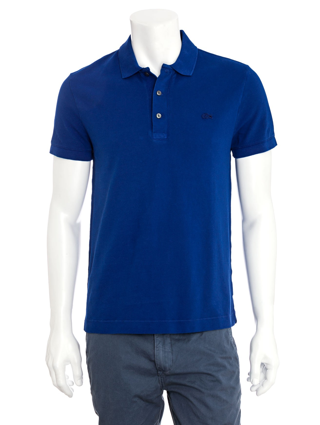 Lacoste slimfit vintage wash polo shirt in blue for men for Lacoste poloshirt weiay