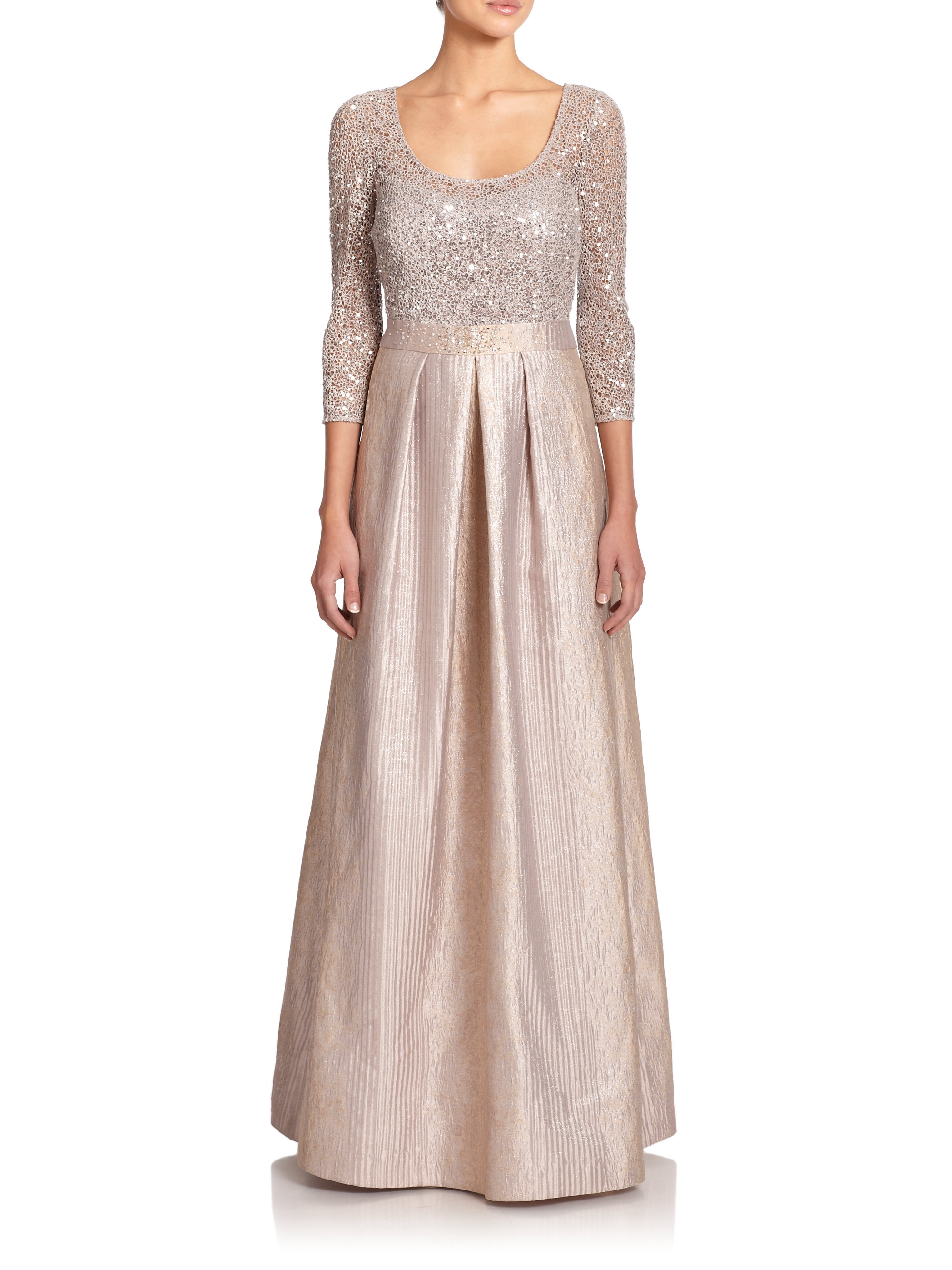 Lyst - Kay Unger Sequin Lace & Metallic Jacquard Gown in Gray