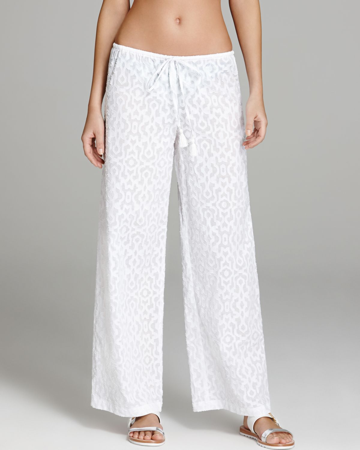 Tommy Bahama Woven Medallion Swim Cover Up Pants in White