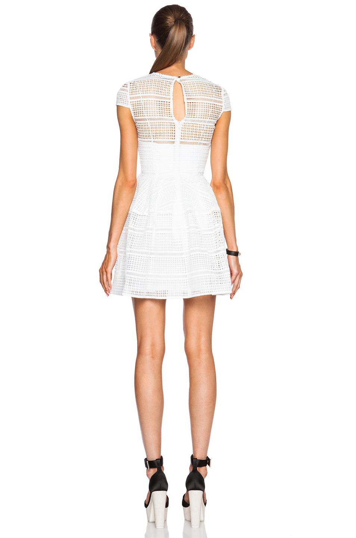 Nicholas diamond lace cap sleeve dress