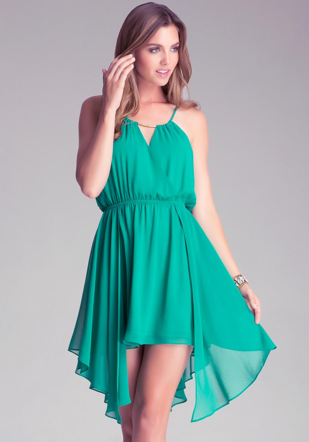 Lyst - Bebe Surplice Overlay Dress in Green