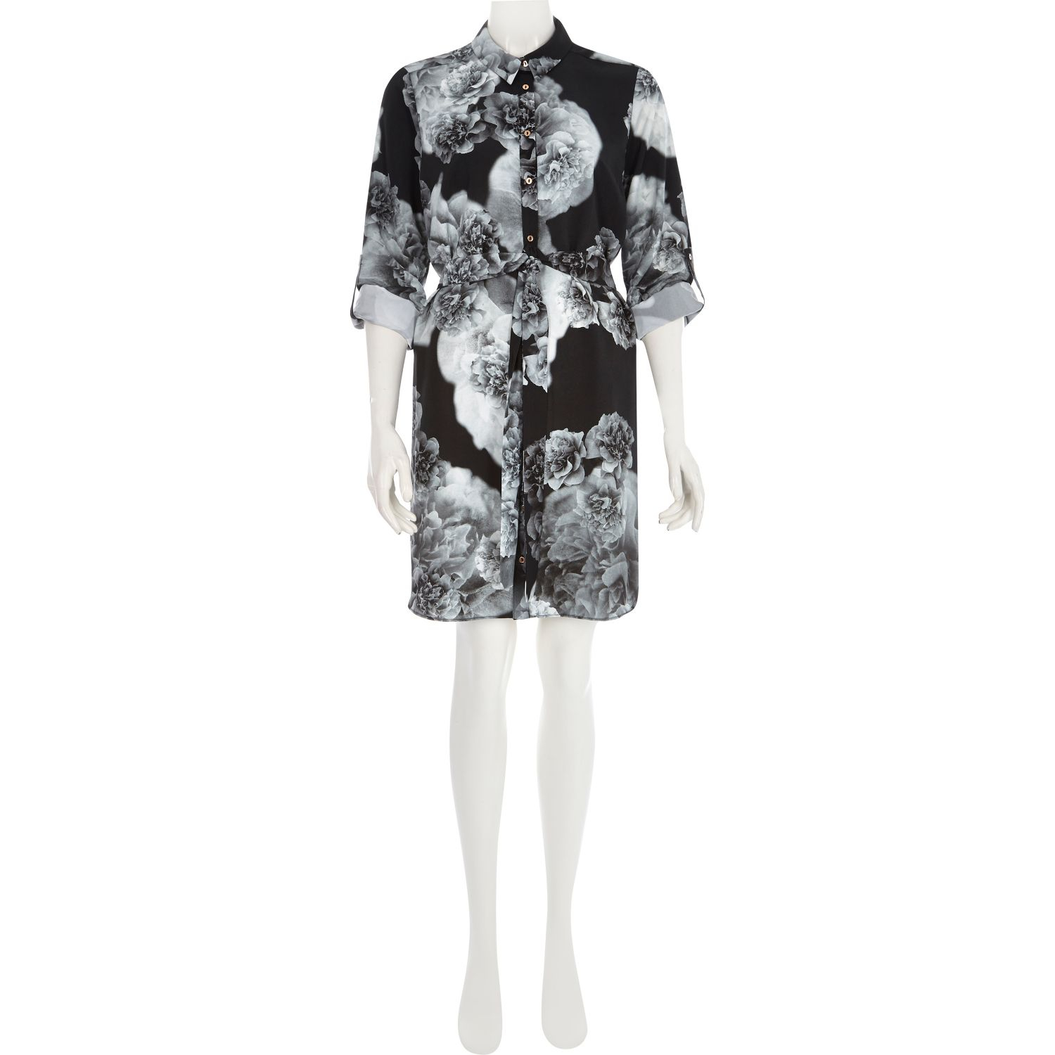 Black and white floral shirt dress