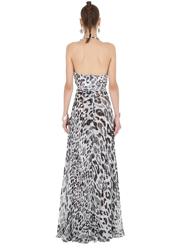 Versus Leopard Print Silk Chiffon Dress In White Lyst