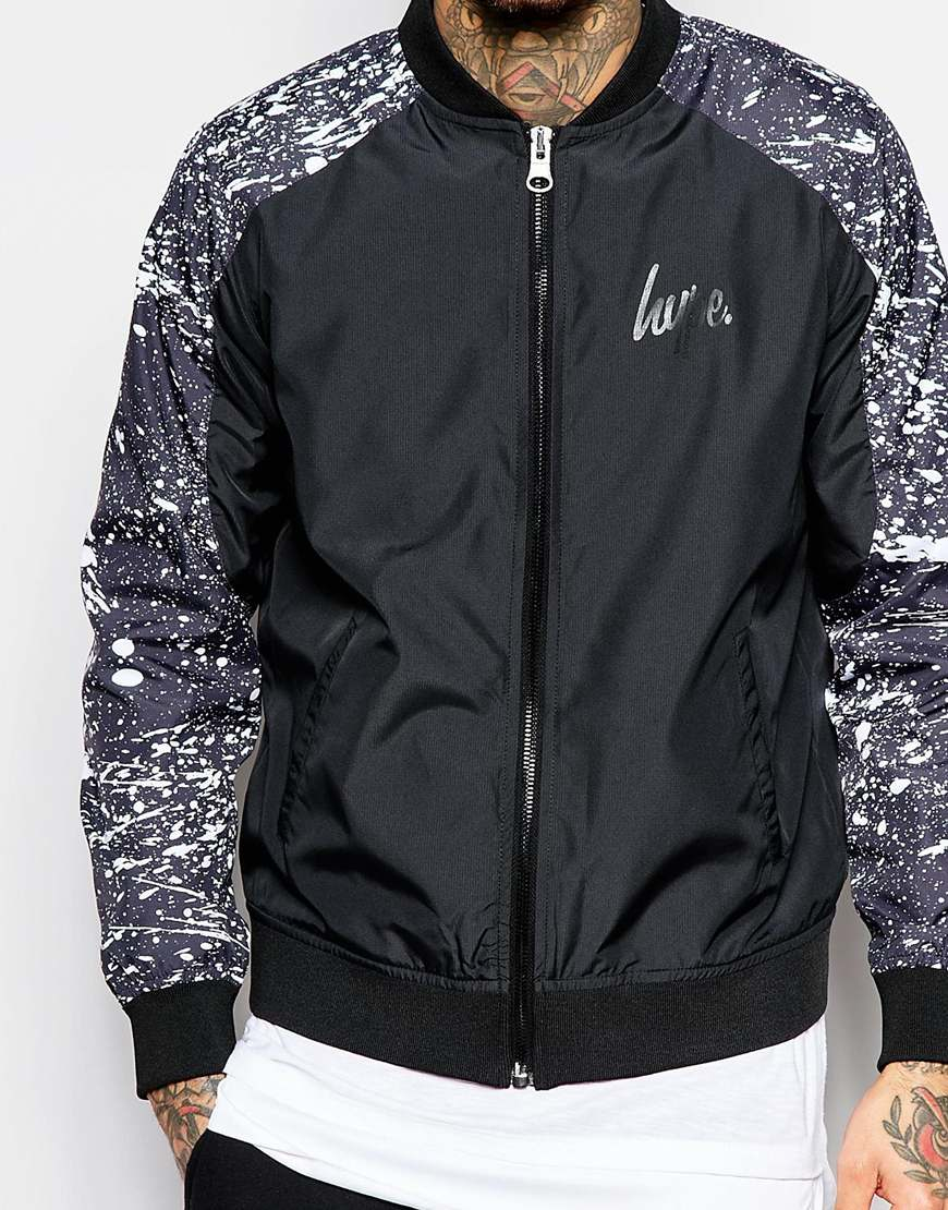Hype Bomber Jacket In Black For Men Lyst
