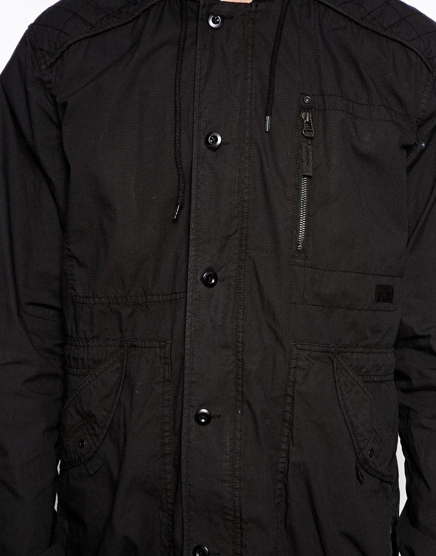 Asos Hooded Parka Jacket in Black for Men | Lyst