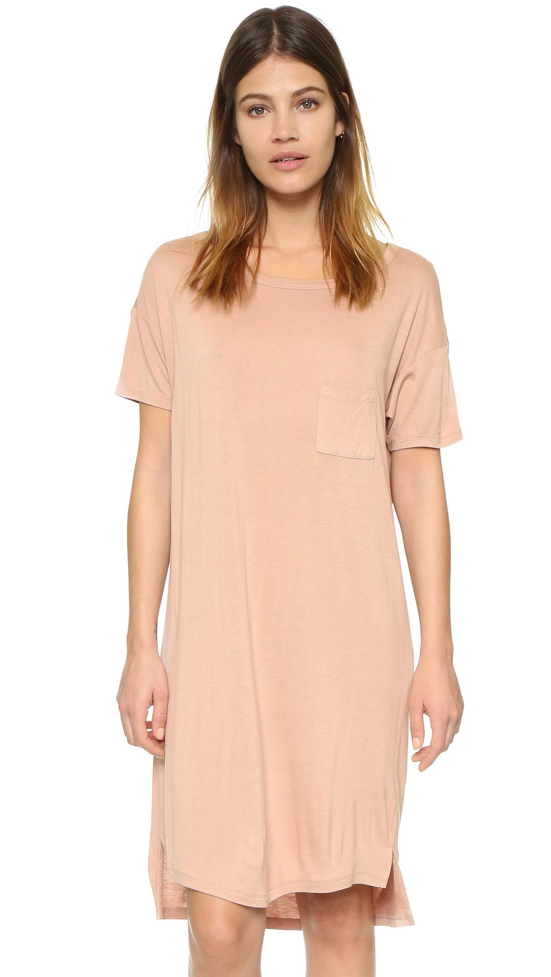 lyst t by alexander wang classic boat neck dress in pink. Black Bedroom Furniture Sets. Home Design Ideas
