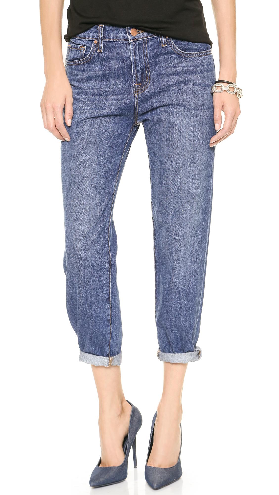 j brand 1265 ace boyfriend jeans muse in blue lyst. Black Bedroom Furniture Sets. Home Design Ideas