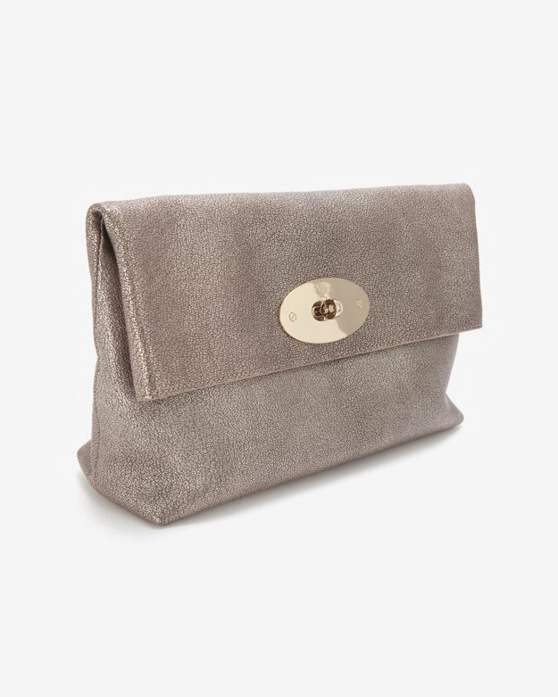 ccd313c27660 Lyst - Mulberry Oversized Metallic Clemmie Clutch in Gray
