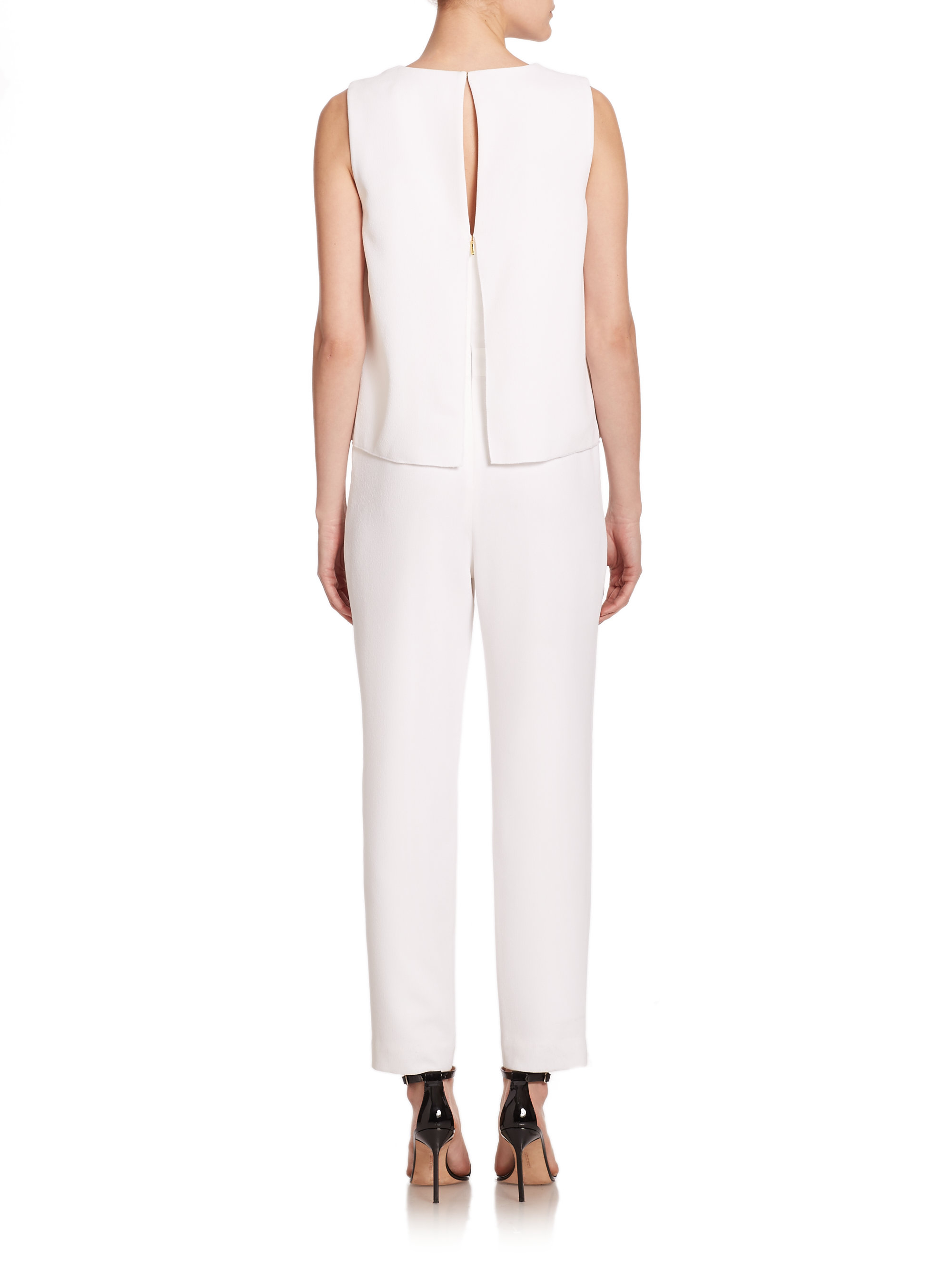 7af672c2e137 Lyst - Trina Turk Crepe Overlay Jumpsuit in White