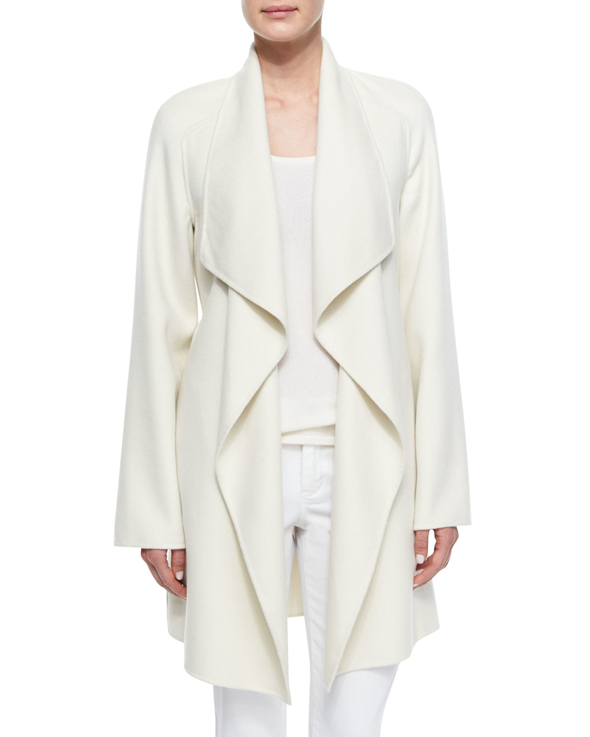 Neiman marcus Cashmere Double-face Wrap Coat in White | Lyst