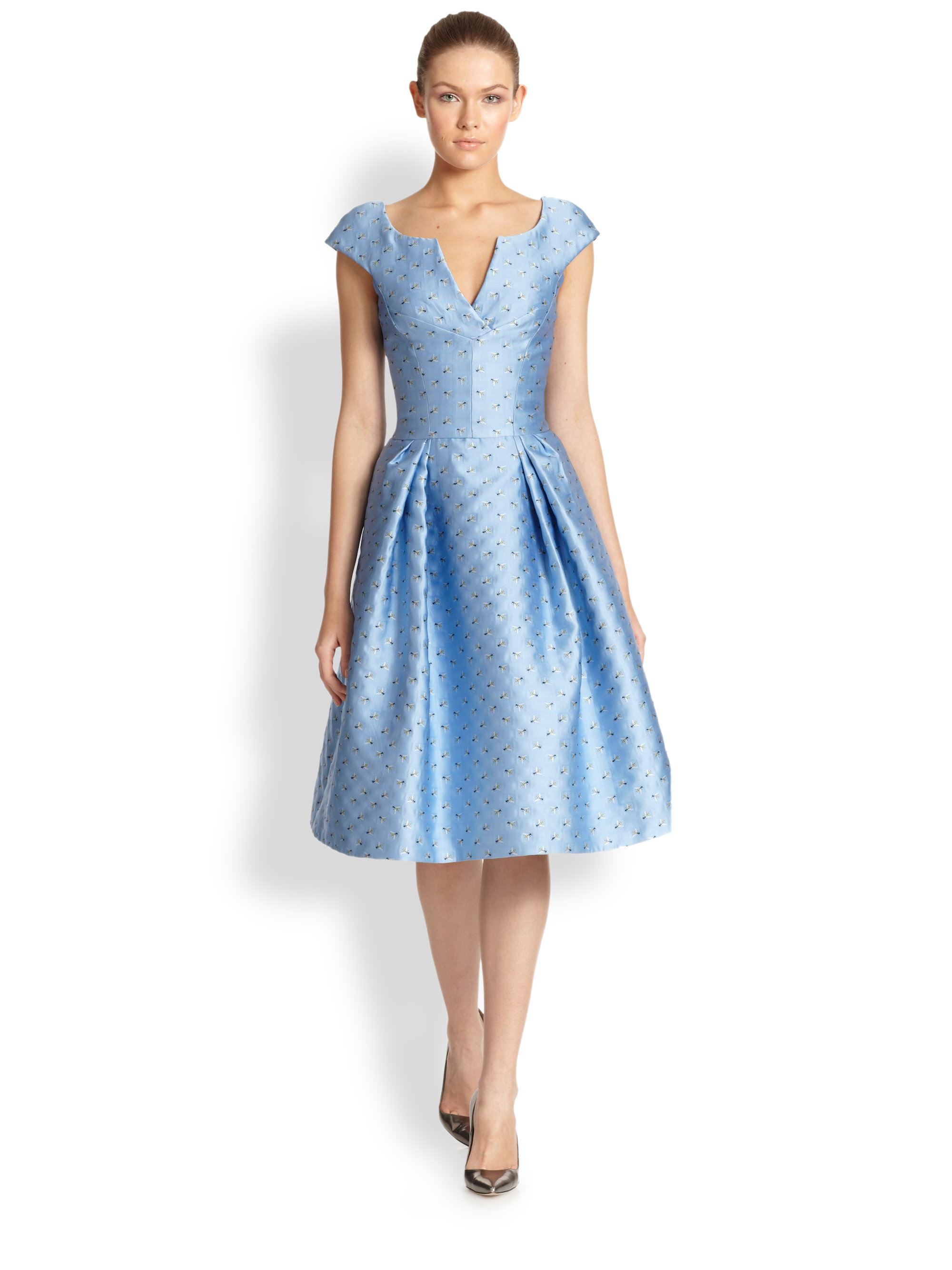 Lyst - Carolina Herrera Bee Jacquard Cocktail Dress in Blue