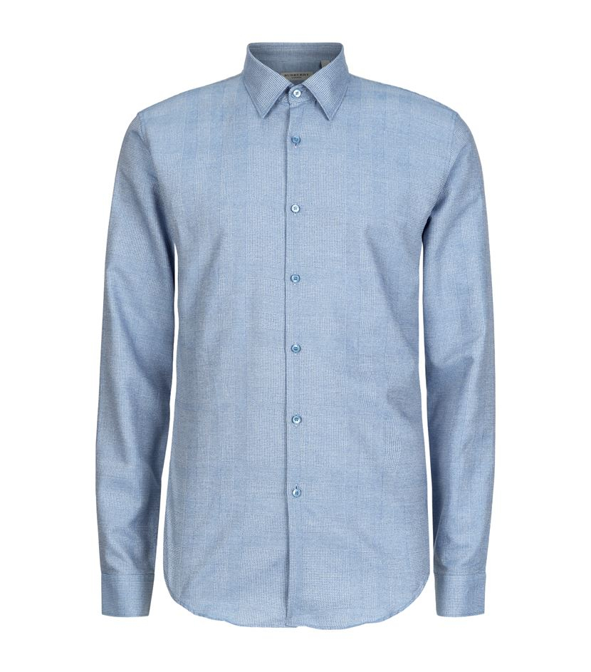 Burberry London Southbrook Houndstooth Check Shirt In Blue