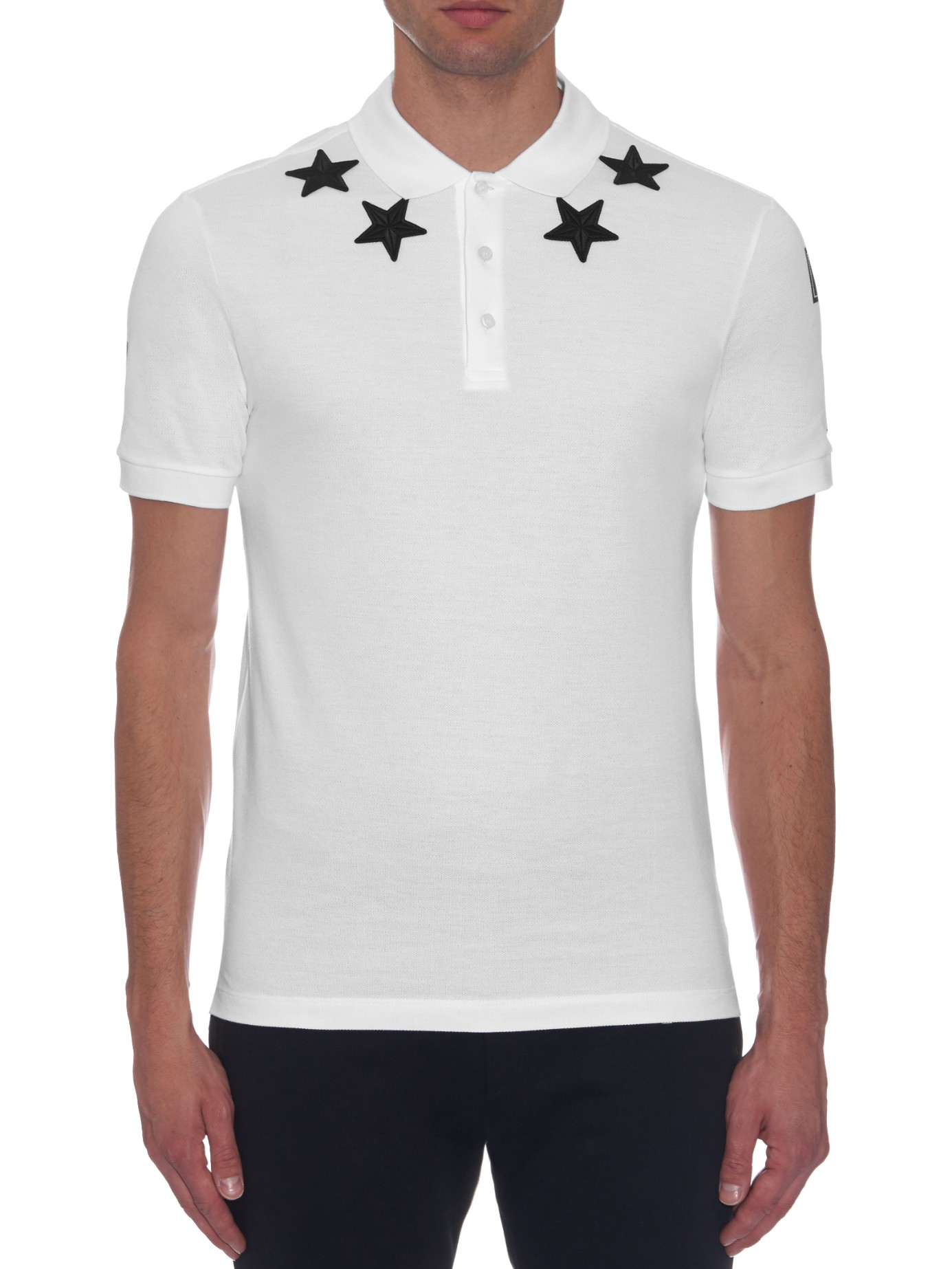 Givenchy cuban fit star patch polo shirt in white for men for Givenchy t shirt man