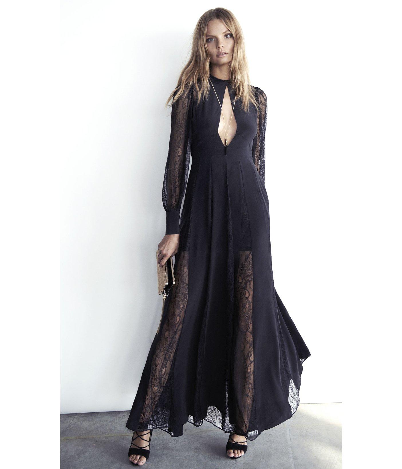 f95d379f5f Express Edition Lace Inset Silk Maxi Dress in Black - Lyst