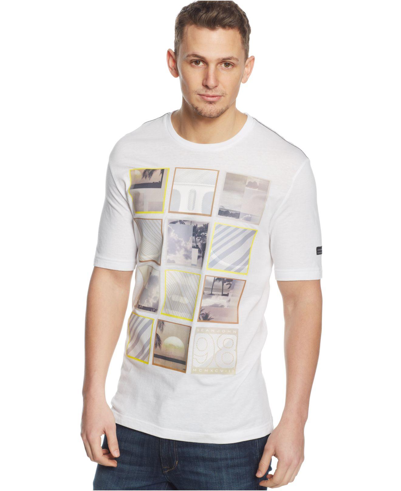 Sean john big tall fantasy graphic t shirt in white for for Sean john t shirts for mens