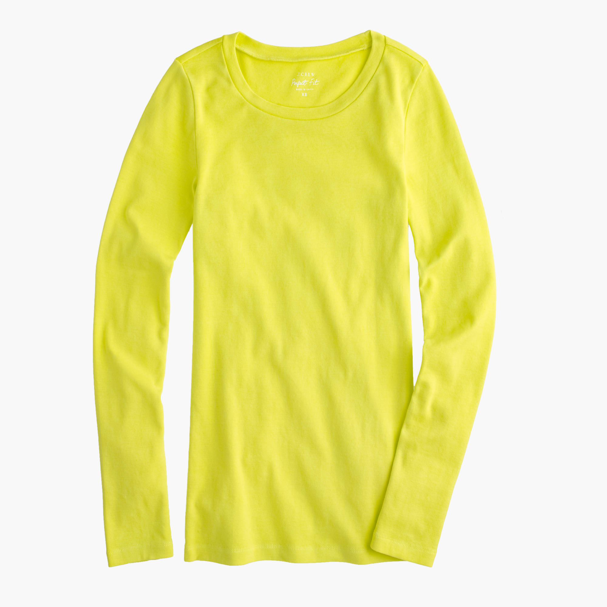 Perfect Fit Long Sleeve T Shirt In Yellow Neon
