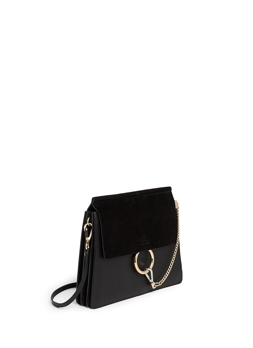Chlo�� \u0026#39;faye\u0026#39; Medium Suede Flap Leather Shoulder Bag in Black | Lyst