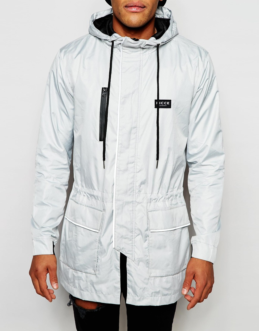 Nicce london Parka With Reflective Piping in White for Men ...