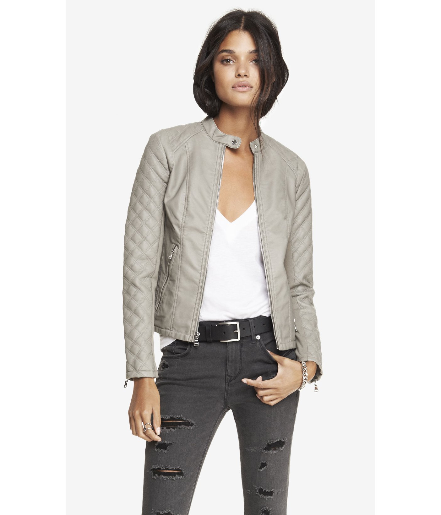 Express Minus The Leather Quilted Sleeve Jacket In Gray