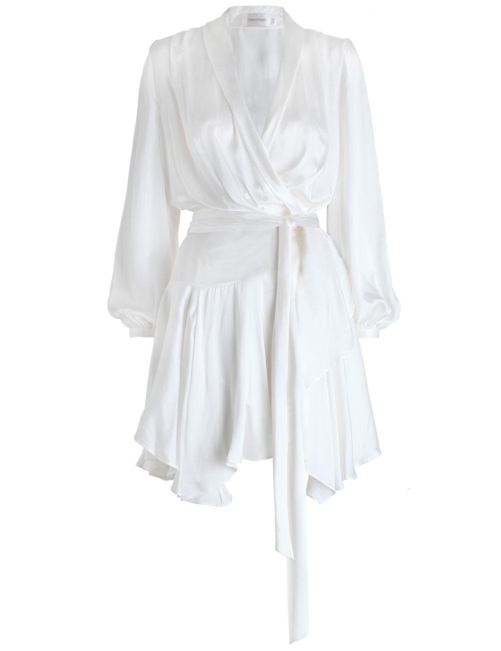 Zimmermann Empire Sueded Robe Dress In White Lyst