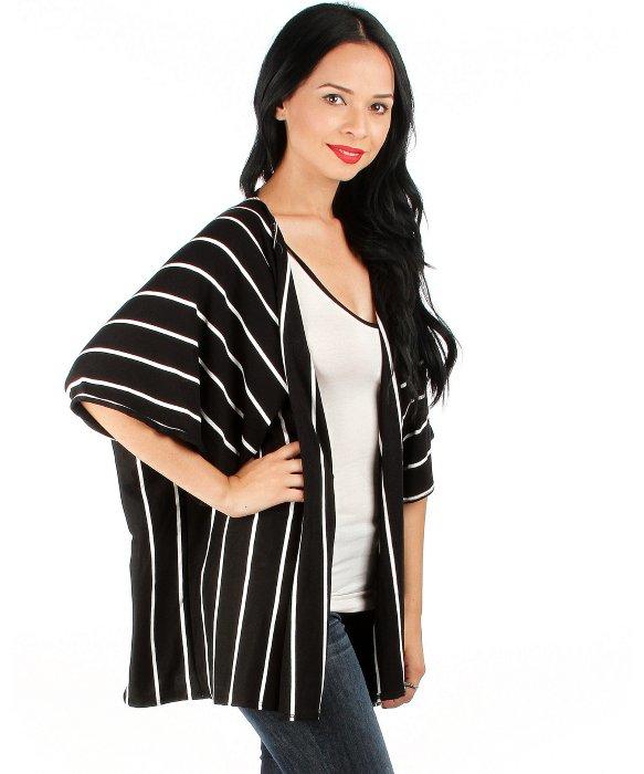 Fashion club usa Striped Kimono Cardigan in White | Lyst