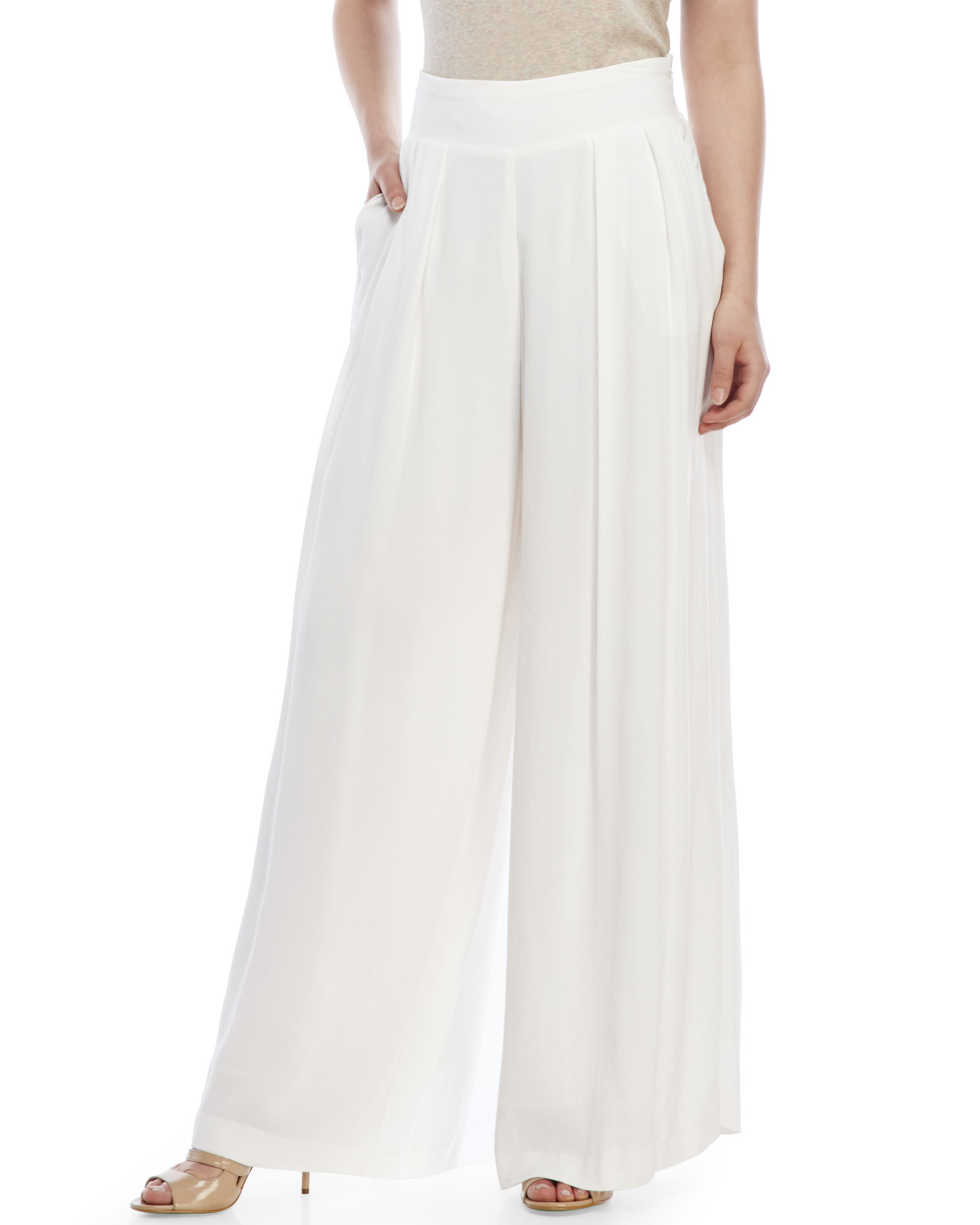 1.state Pleated Palazzo Pants in White | Lyst