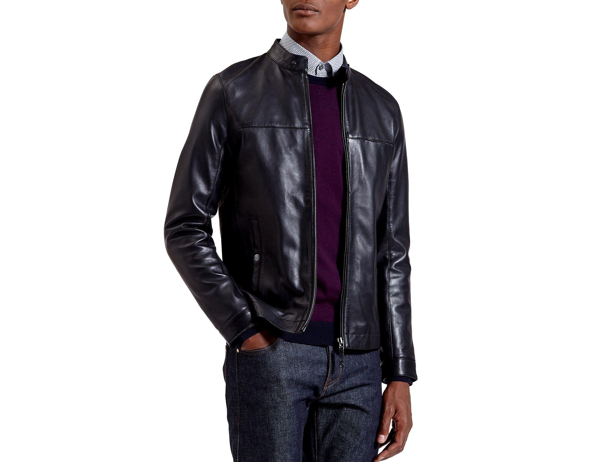 b8b9dd840 Lyst - Ted Baker Lapeer Leather Jacket in Black for Men