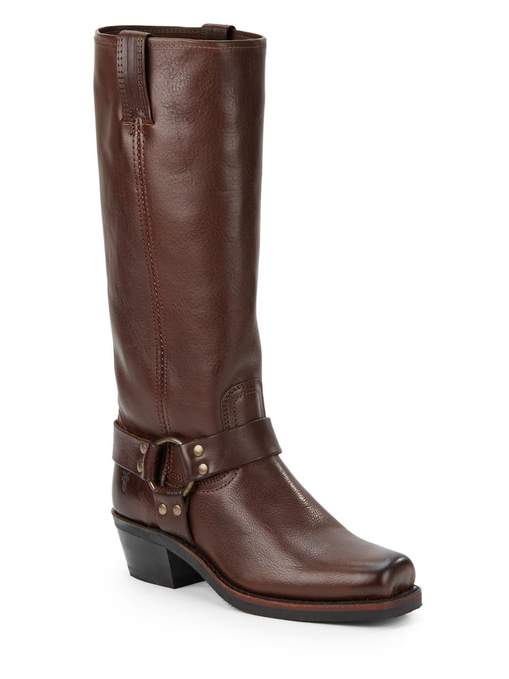 frye harness 15r leather boots in brown lyst