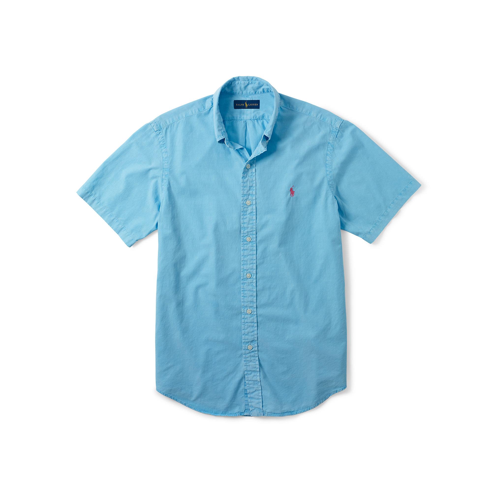 Polo Ralph Lauren Cotton Silk Short Sleeve Shirt In Blue