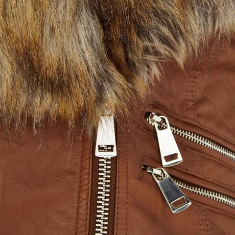 tan faux fur leather jacket river island