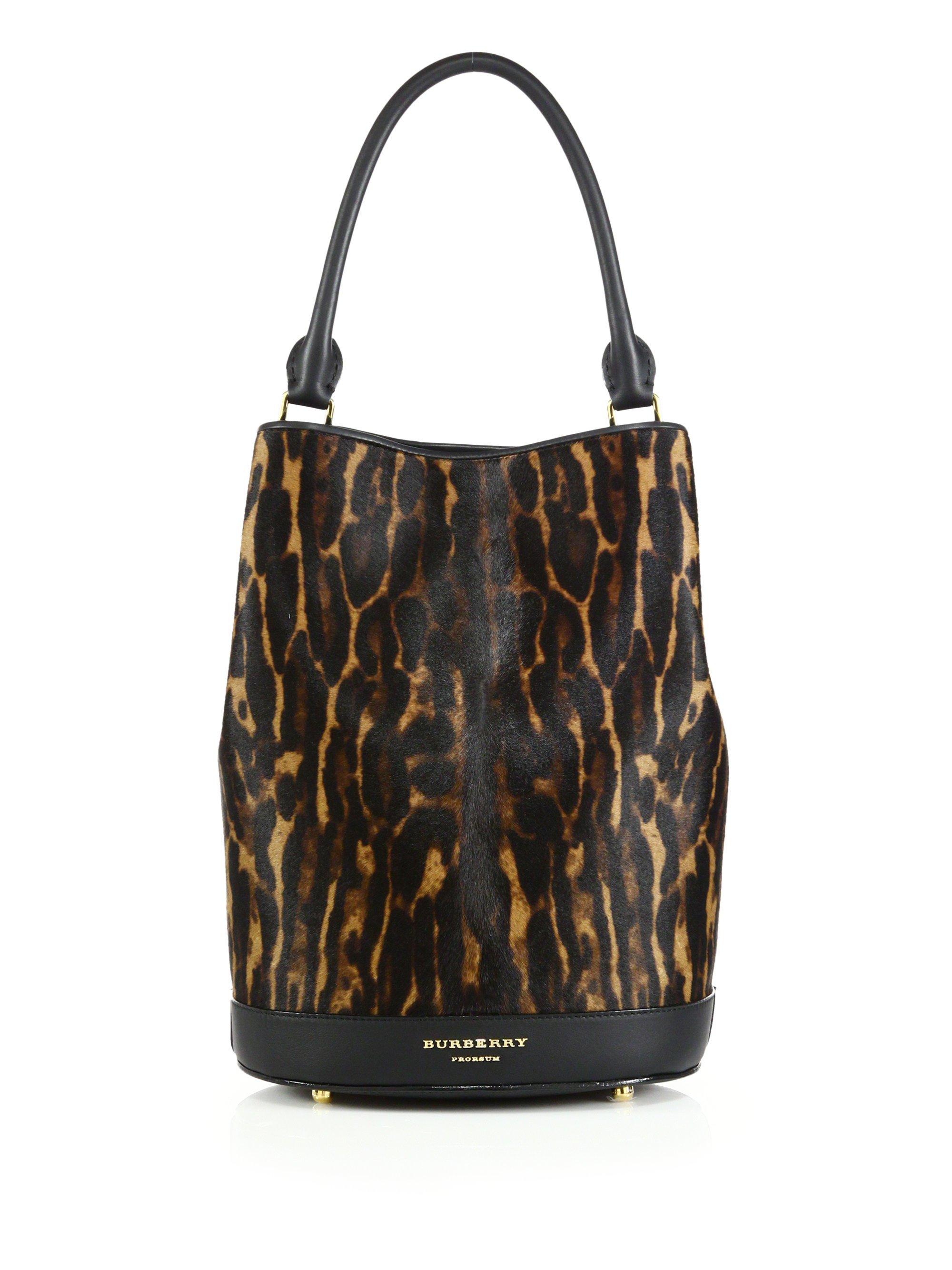 Super Lyst - Burberry Leopard-print Calf Hair Bucket Bag in Brown PK82