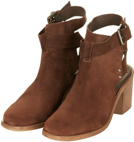 topshop always buckle ankle boots in brown lyst