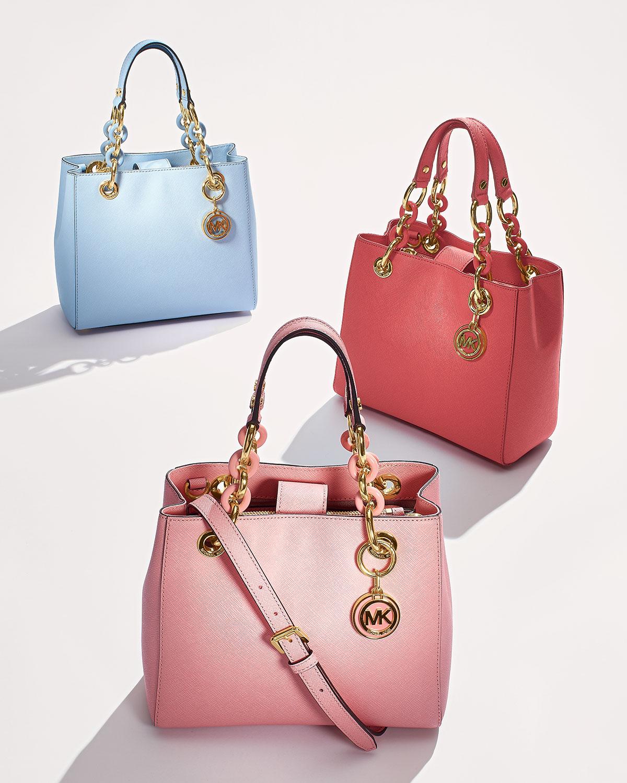 6e482c6b3556 Lyst - MICHAEL Michael Kors Cynthia Small Satchel Bag in Pink
