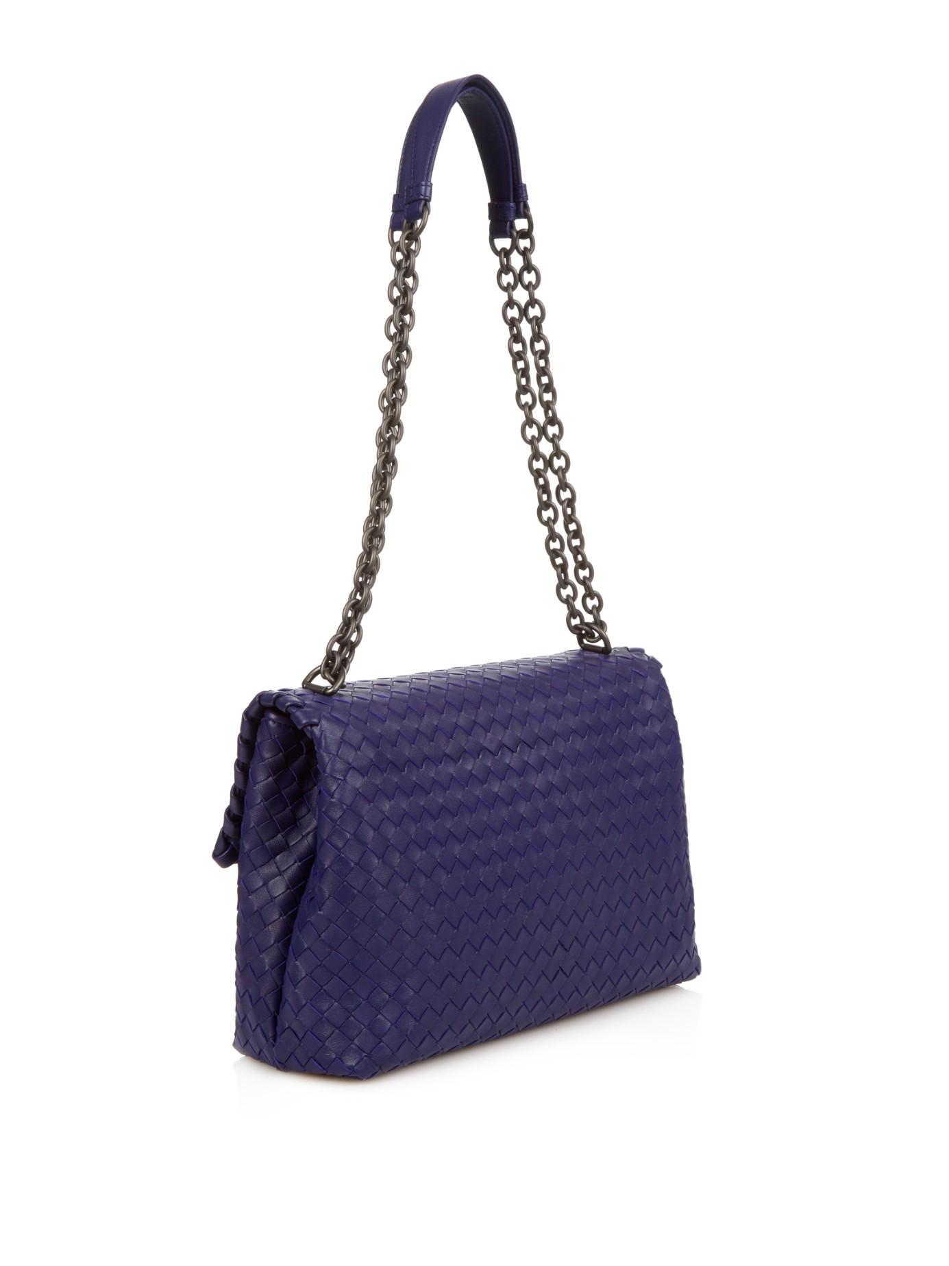 Bottega veneta Olimpia Intrecciato Leather Shoulder Bag in Blue | Lyst