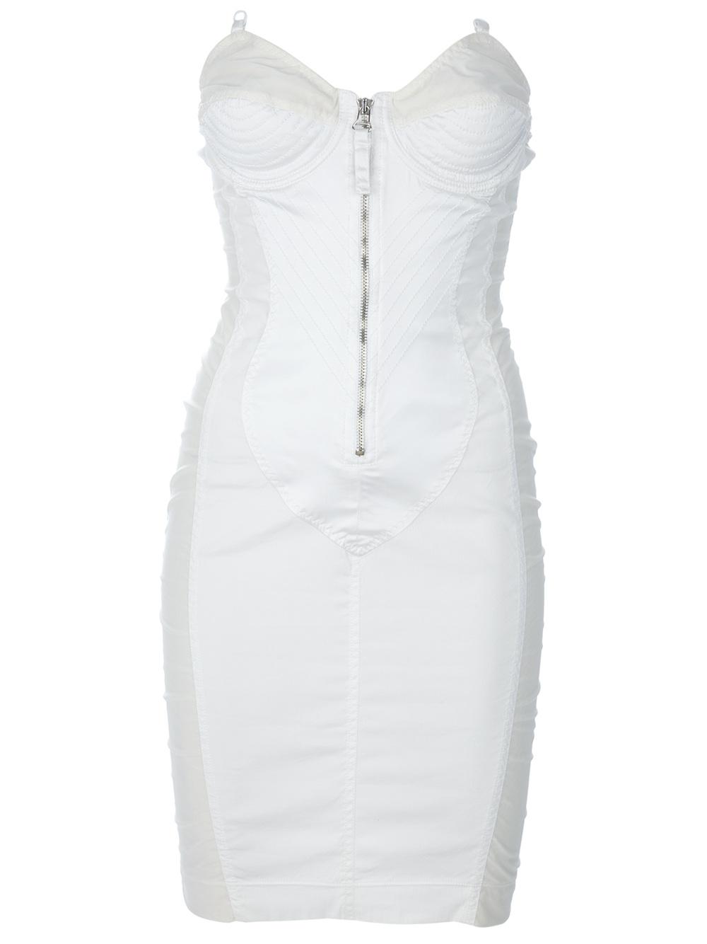 Lyst Jean Paul Gaultier Bodycon Bustier Dress In White