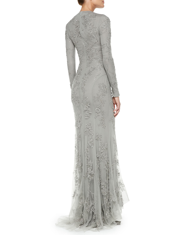 Lyst - Ralph Lauren Collection Longsleeve Beaded Evening Gown in Gray