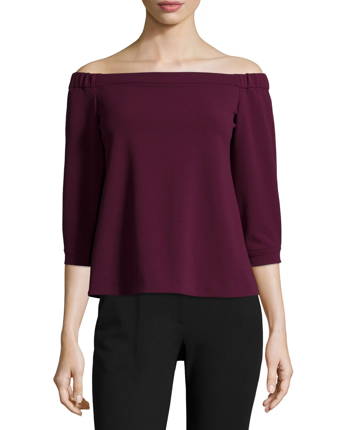 aa469e7a16af3 Lyst - Tibi 3 4-sleeve Off-the-shoulder Top in Purple