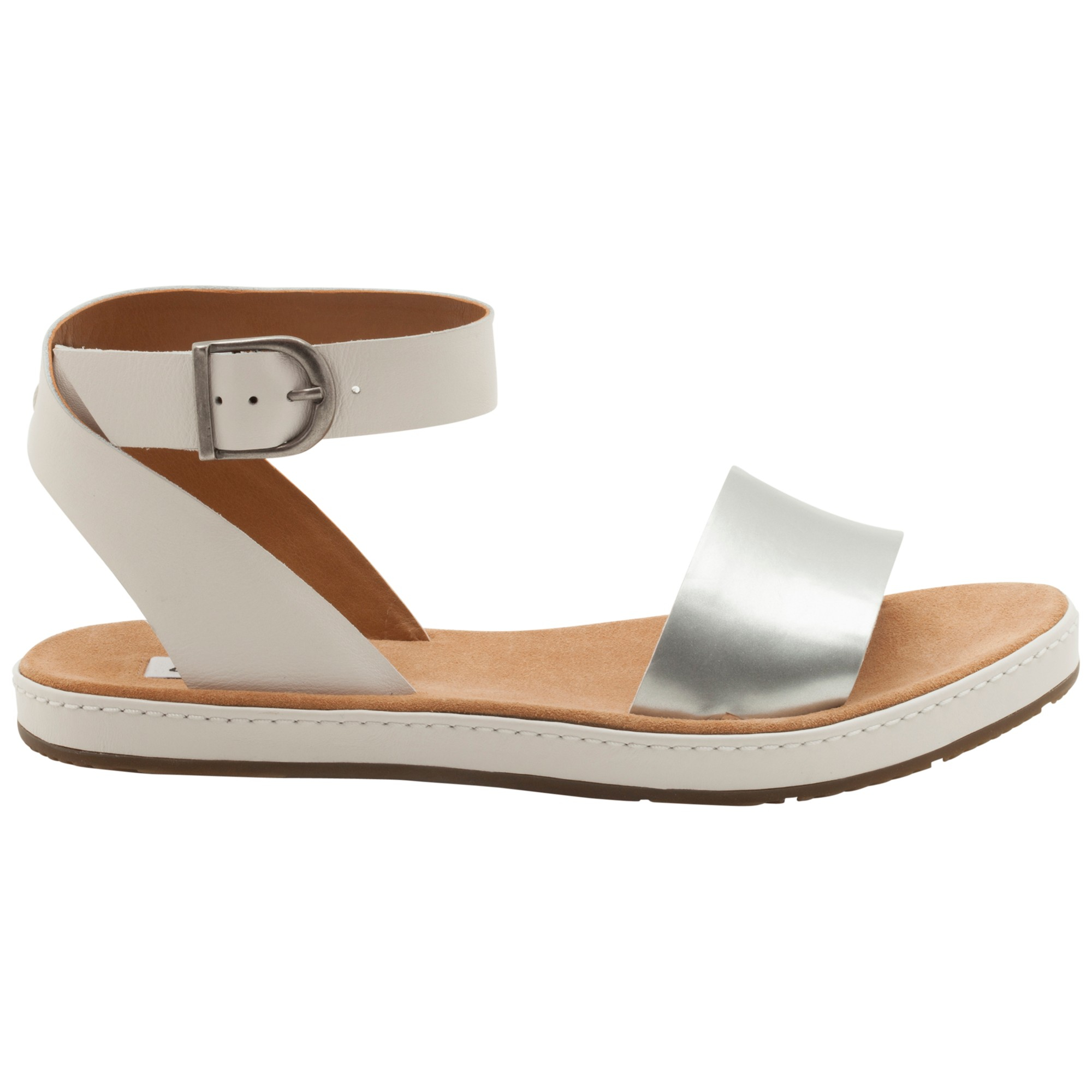 b5f705859 Clarks Romantic Moon Leather Flat Sandals in Metallic - Lyst