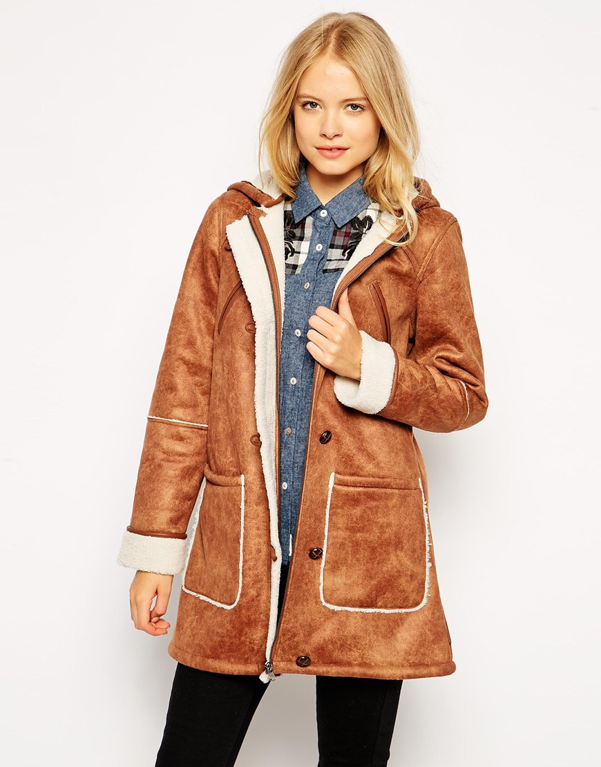 Bellfield Faux Sheepskin Coat in Brown | Lyst