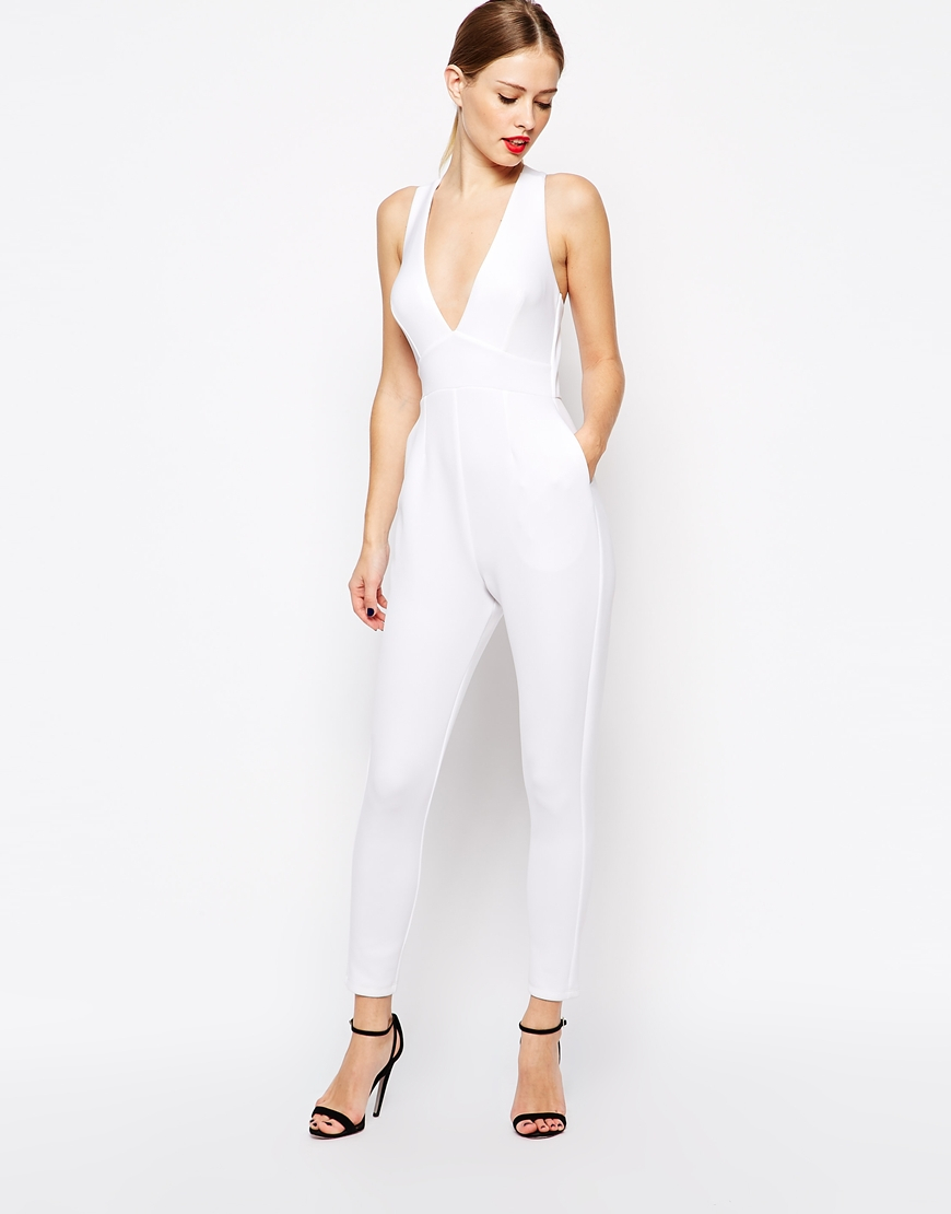 bffe66510d7 Lyst - ASOS Jumpsuit In Scuba With Plunge And Cross Back in White