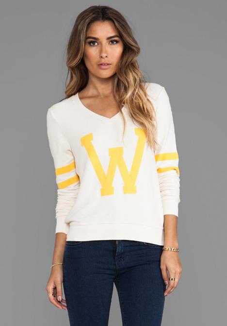 Lyst Wildfox Letterman Pullover In Cream In White
