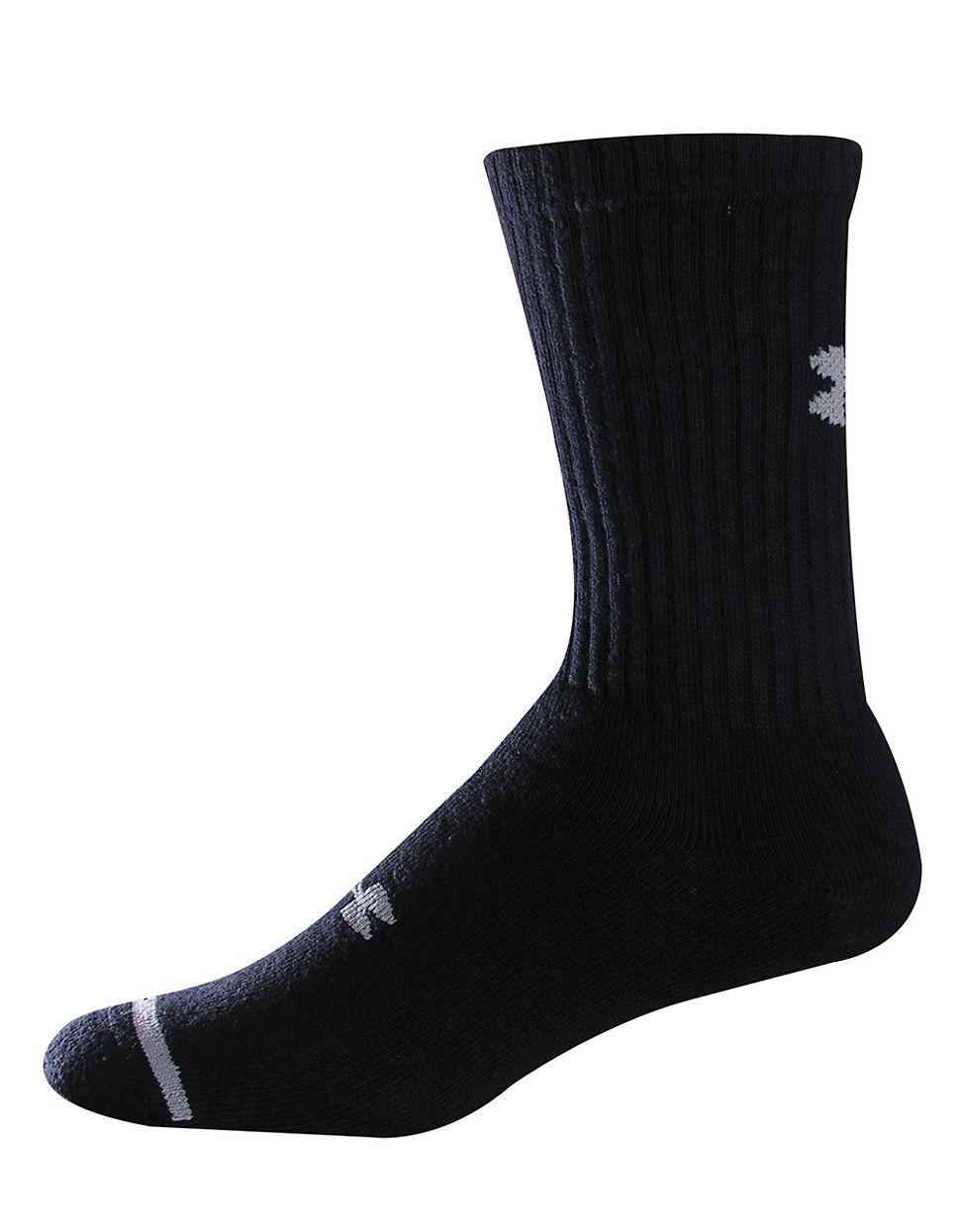 Under Armour Crew Socks 6 Pack In Black For Men Lyst