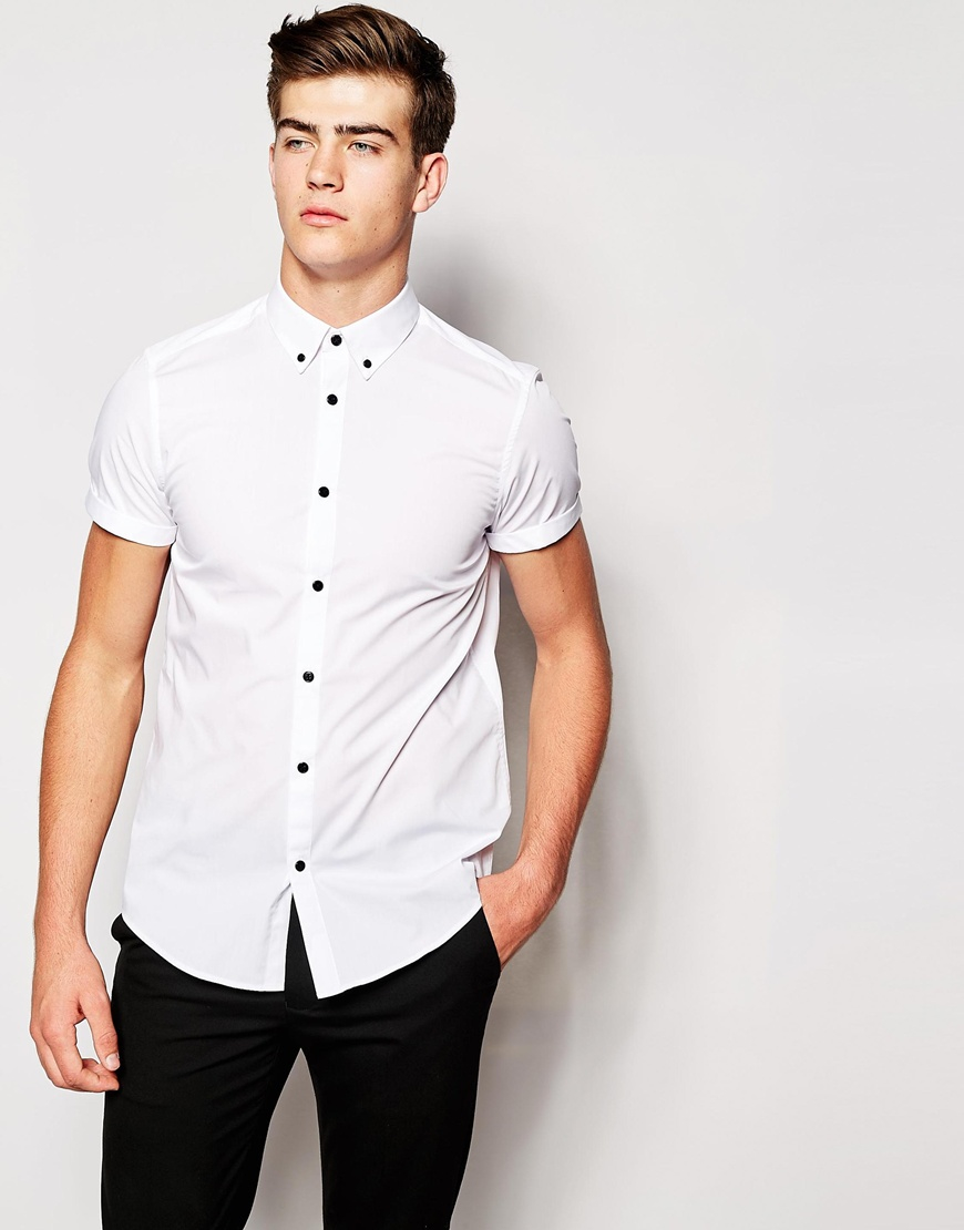 Asos Smart Shirt In Short Sleeve With Contrast Buttons And Button ...