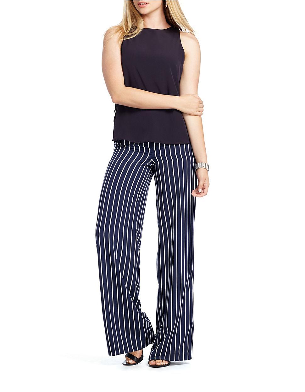 Lauren by ralph lauren Plus Striped Wide-leg Pants in Blue   Lyst